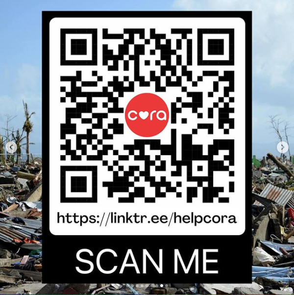 CORA QR code for Typhoon Ulysses donations