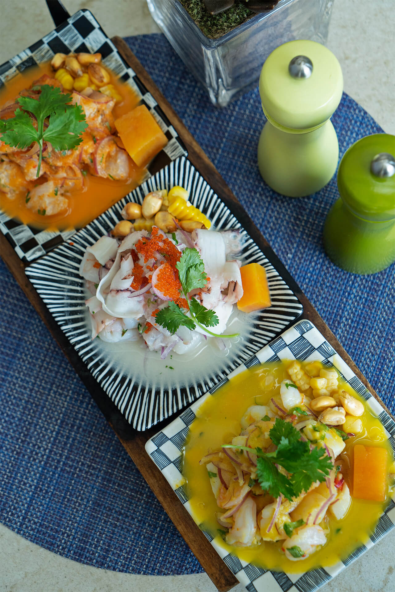 A trio of Peruvian-Filipino fusion of Kinilaw (fresh seafood in vinegar)