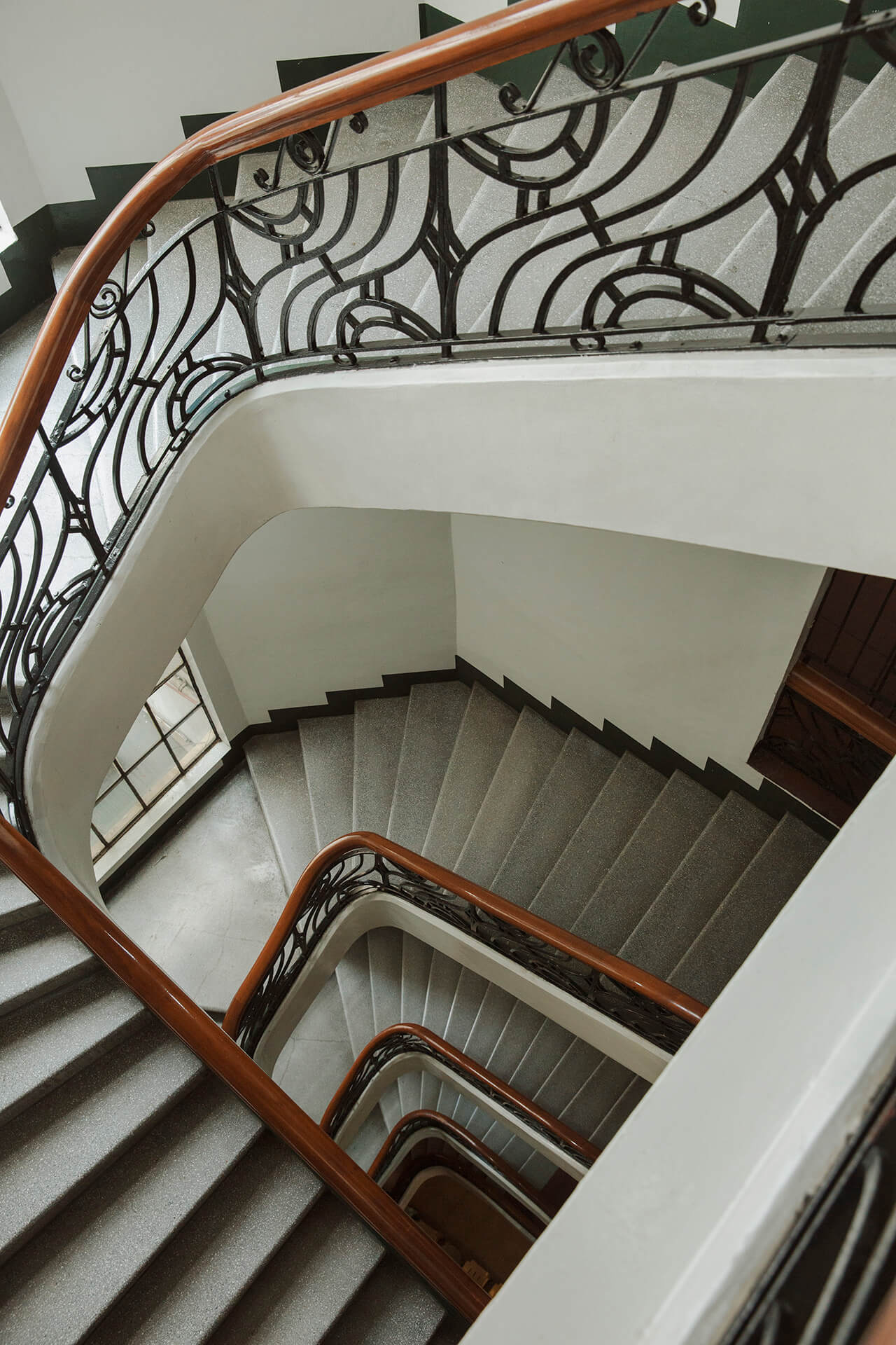 First United Building's iconic art deco staircase.