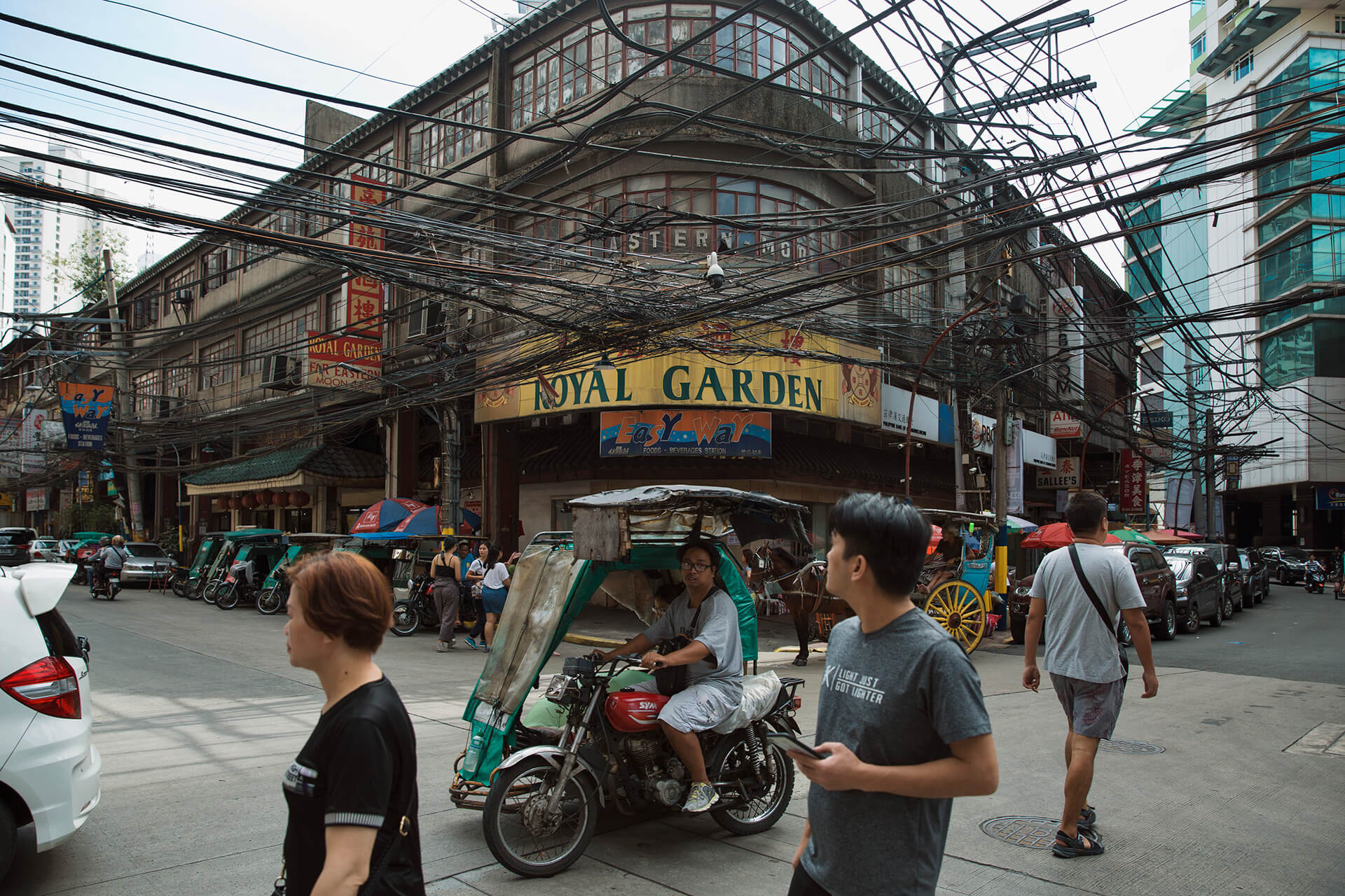 Various establishments line Ongpin Street