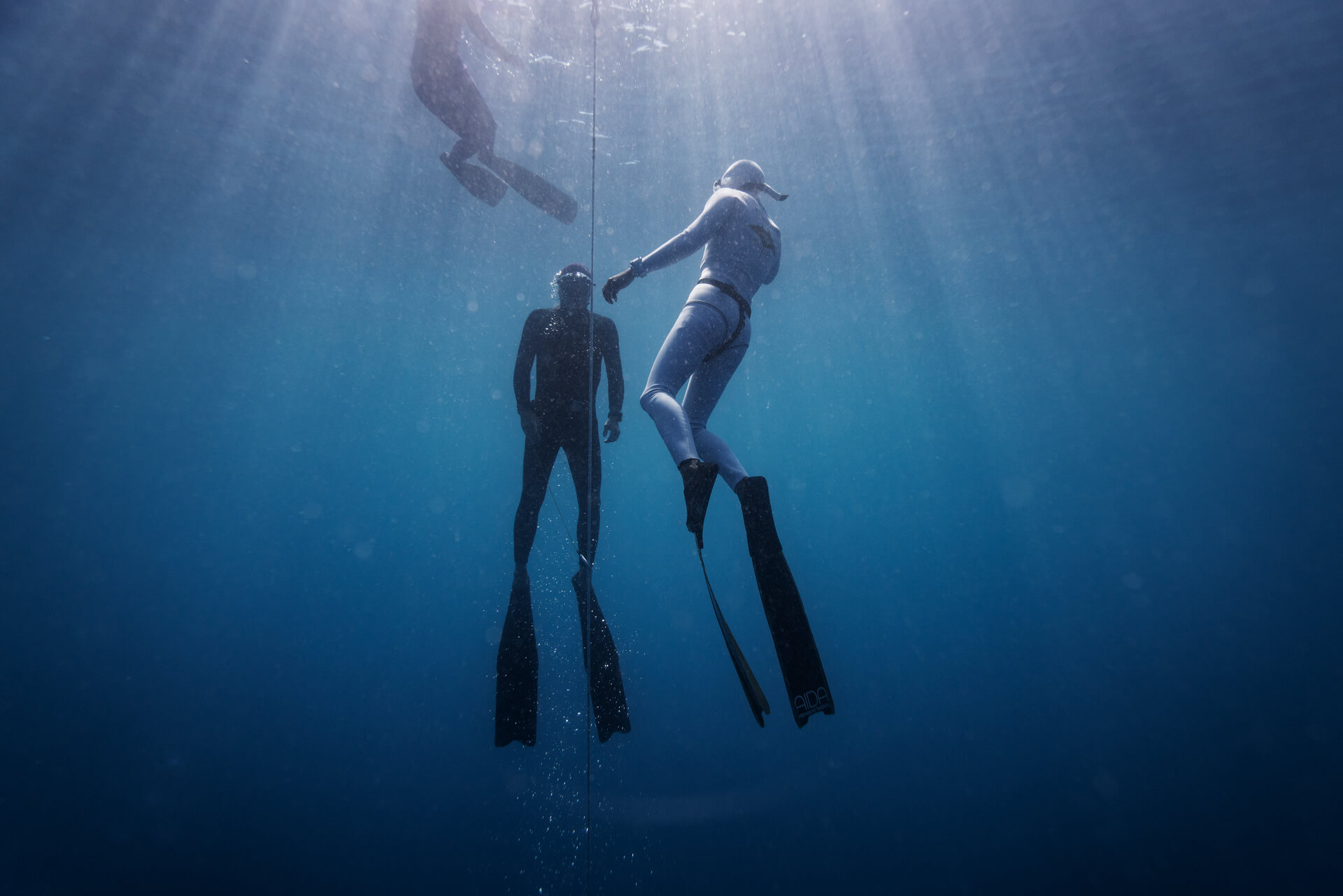 divers approaching the surface