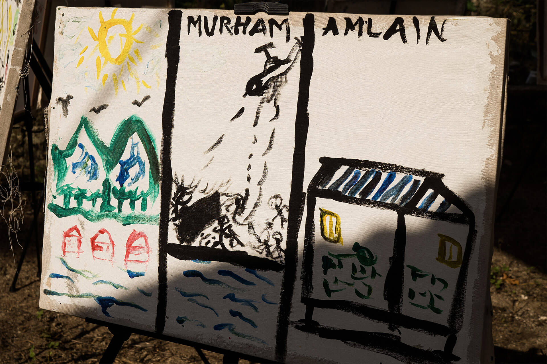 Moro children's painting depicting an airstrike