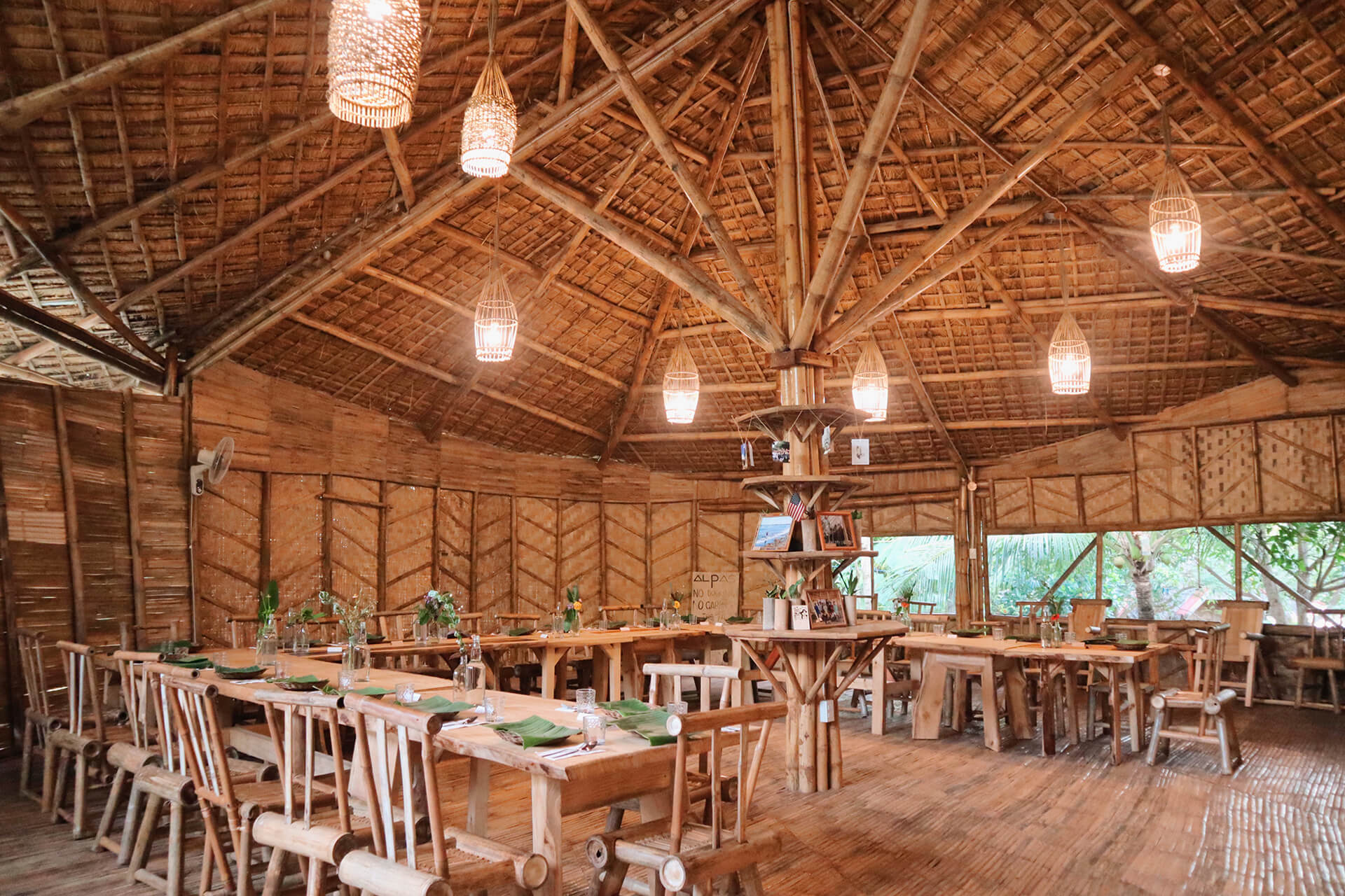 Interior of the all-bamboo restaurant in front of Alpas
