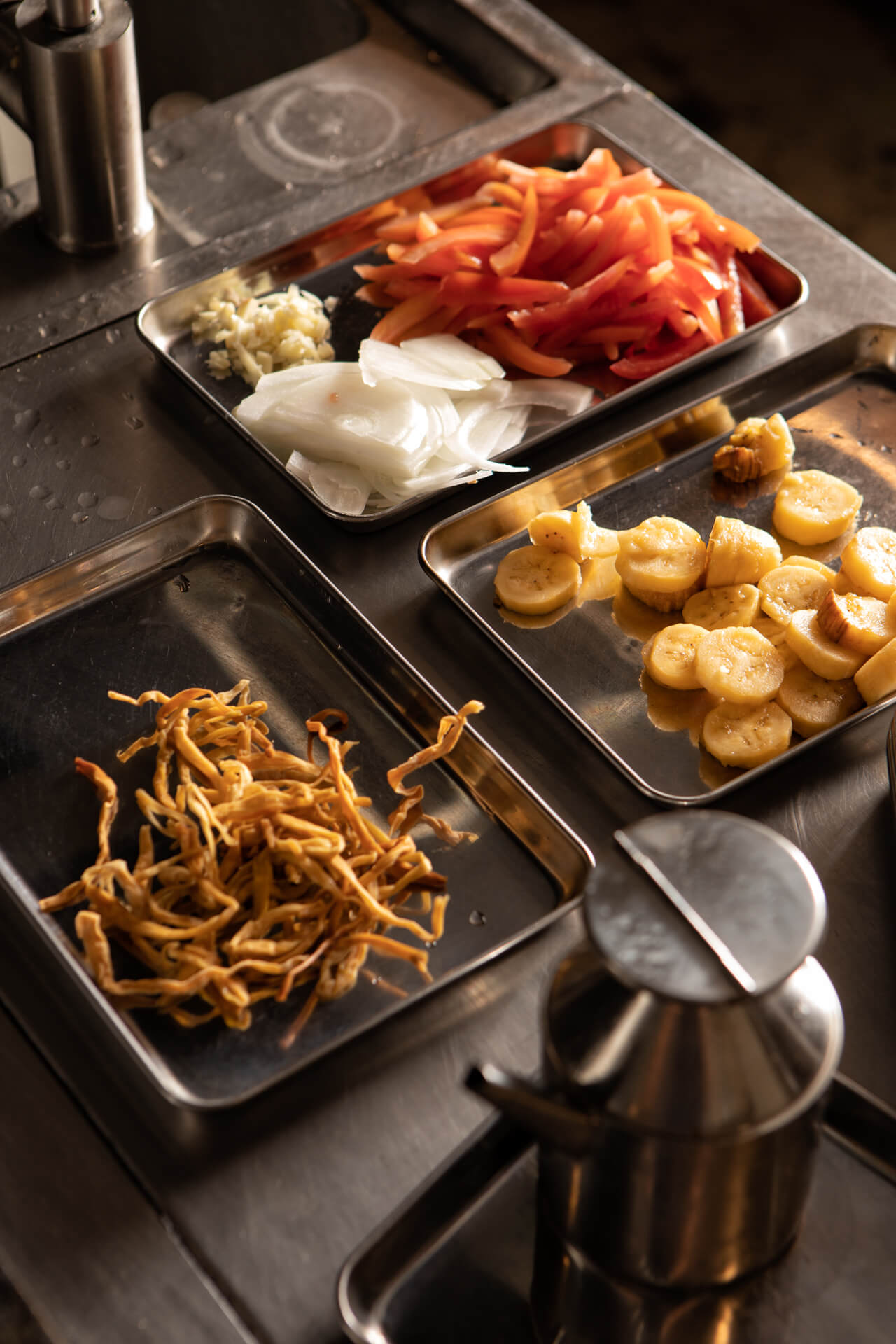 Fresh ingredients prepared at the Toyo Eatery kitchen