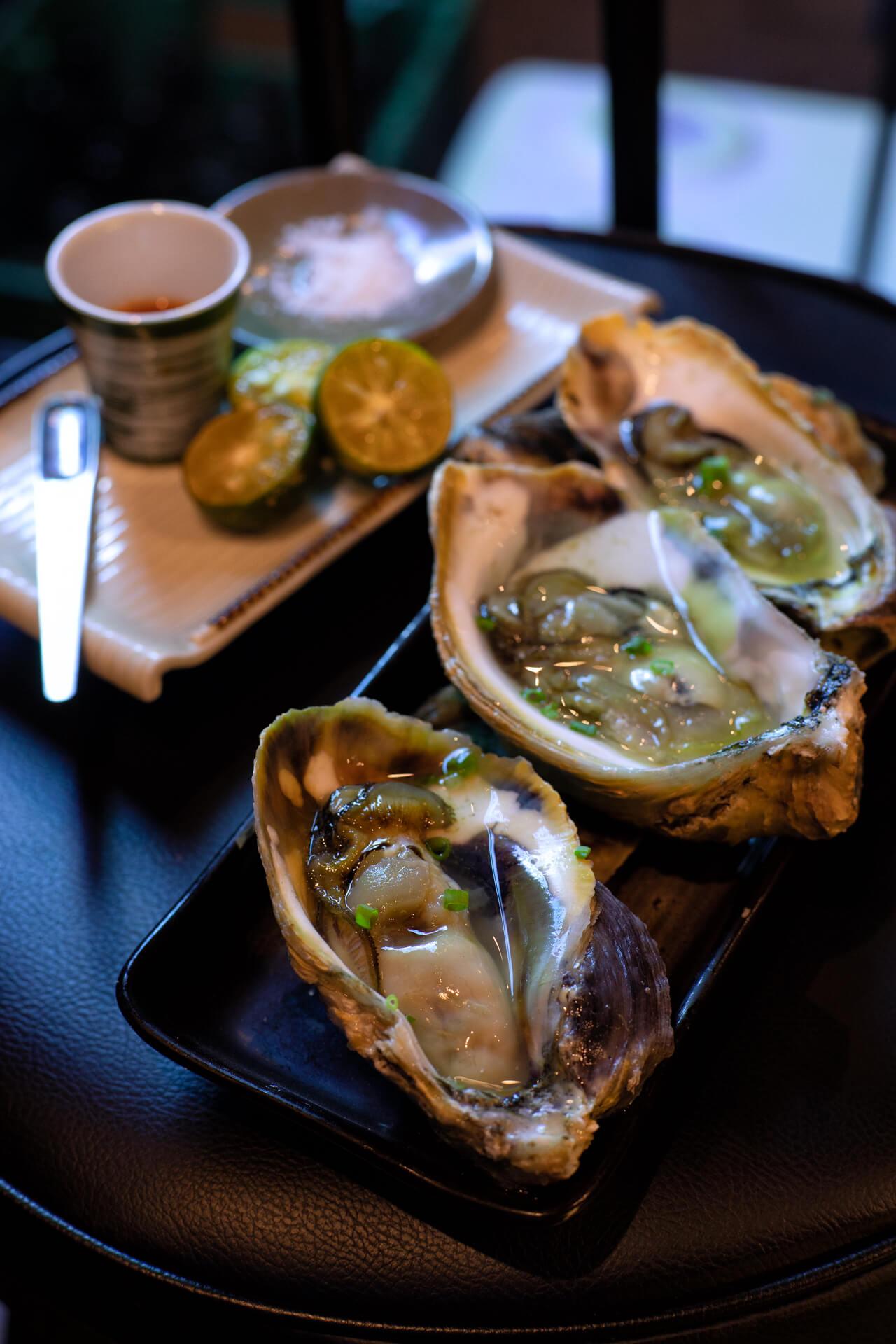 Fresh oysters served at Wantusawa