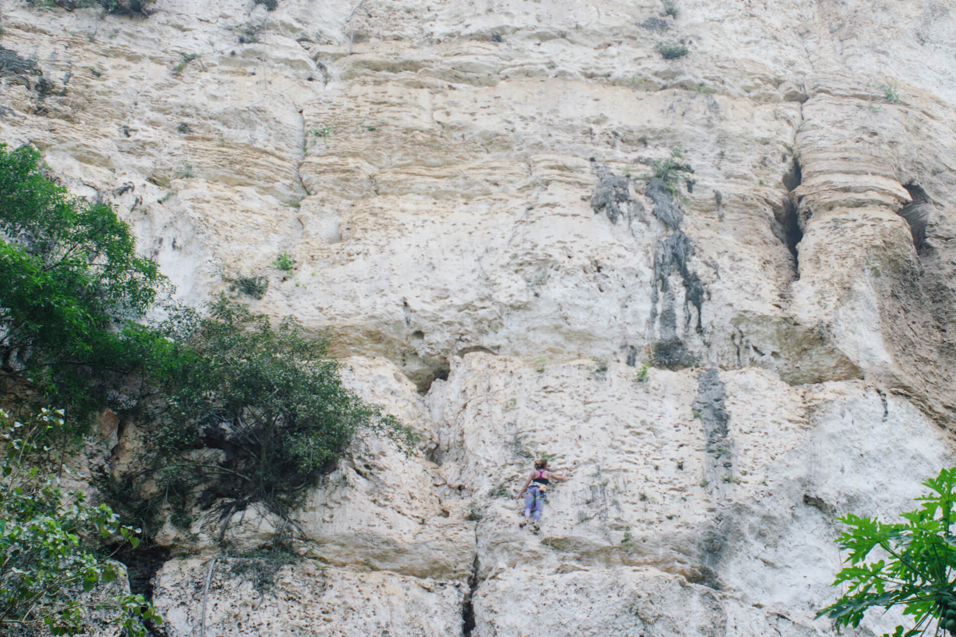 A female climber scales a rock formation