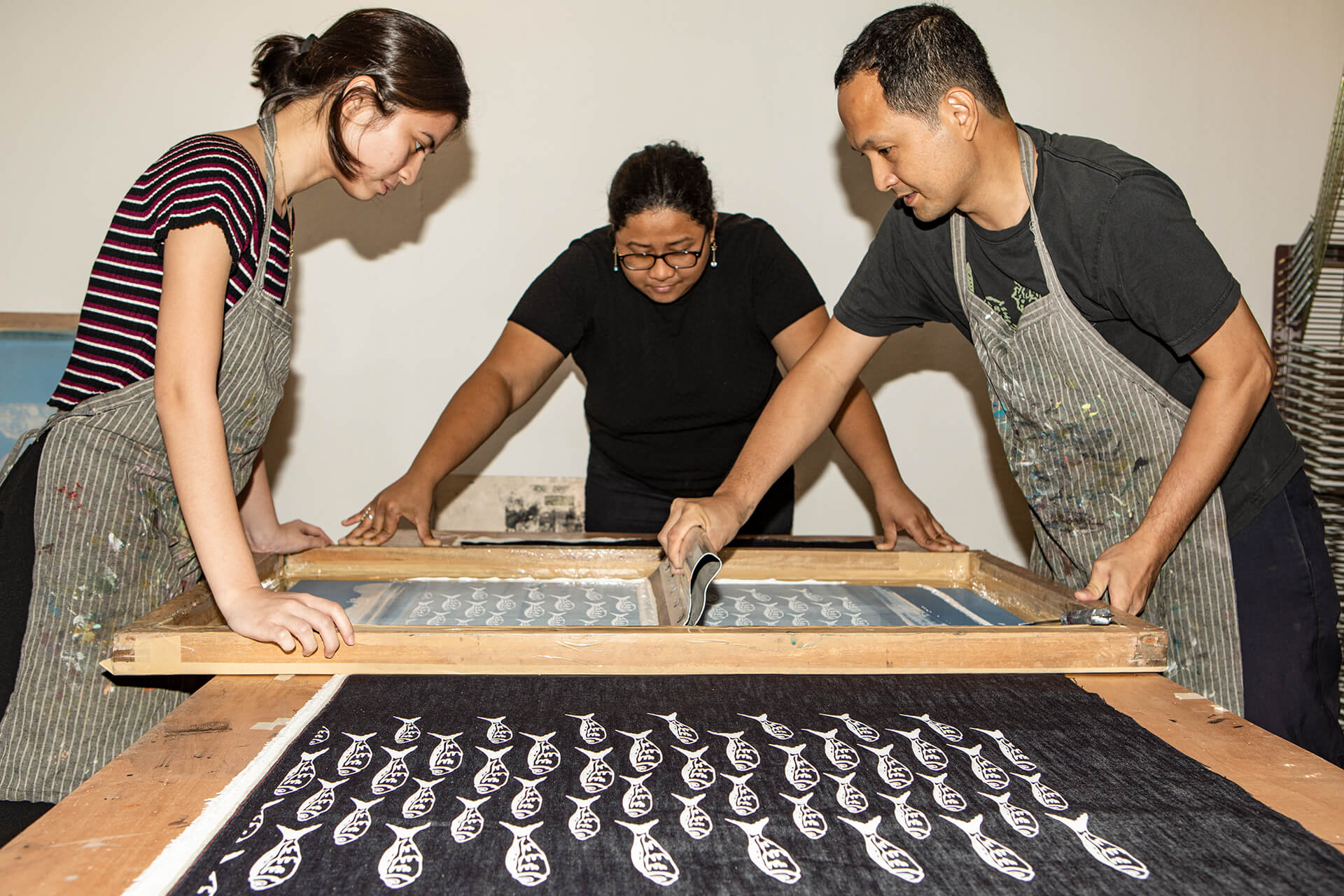 Andre Salud leads a screen printing workshop at Hocus Manila