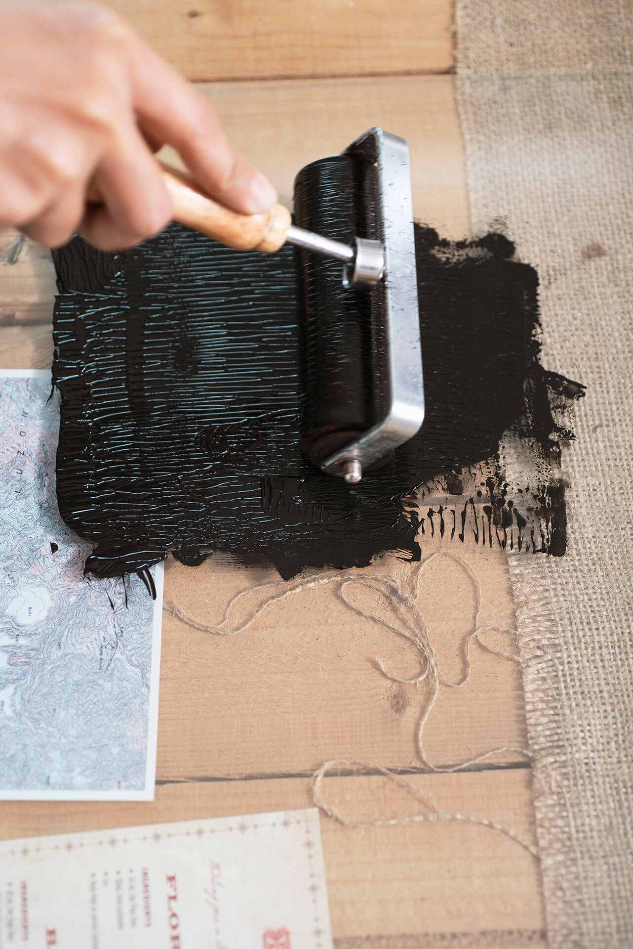 Details of ink used in relief printmaking