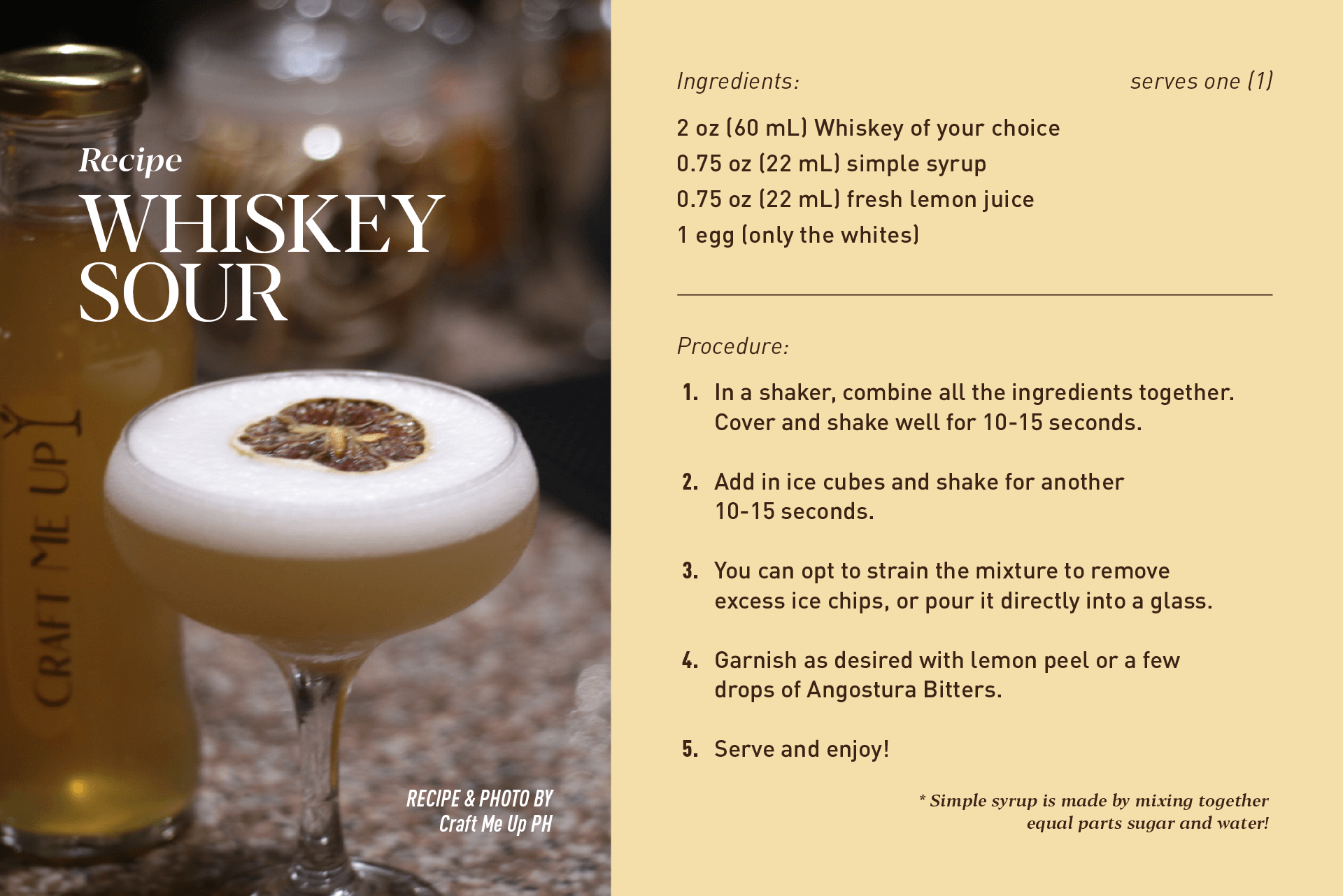 Recipe: Whiskey Sour by Craft Me Up PH