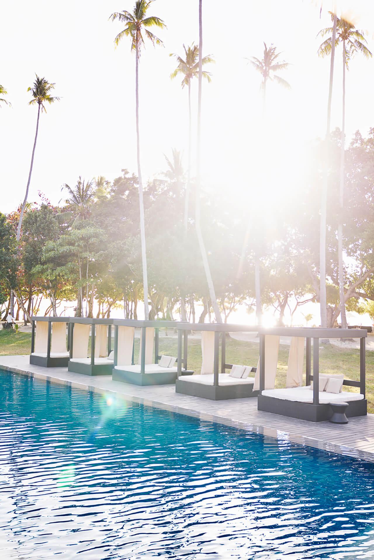 Poolside view from Maremegmeg Beach Club, El Nido, Palawan.