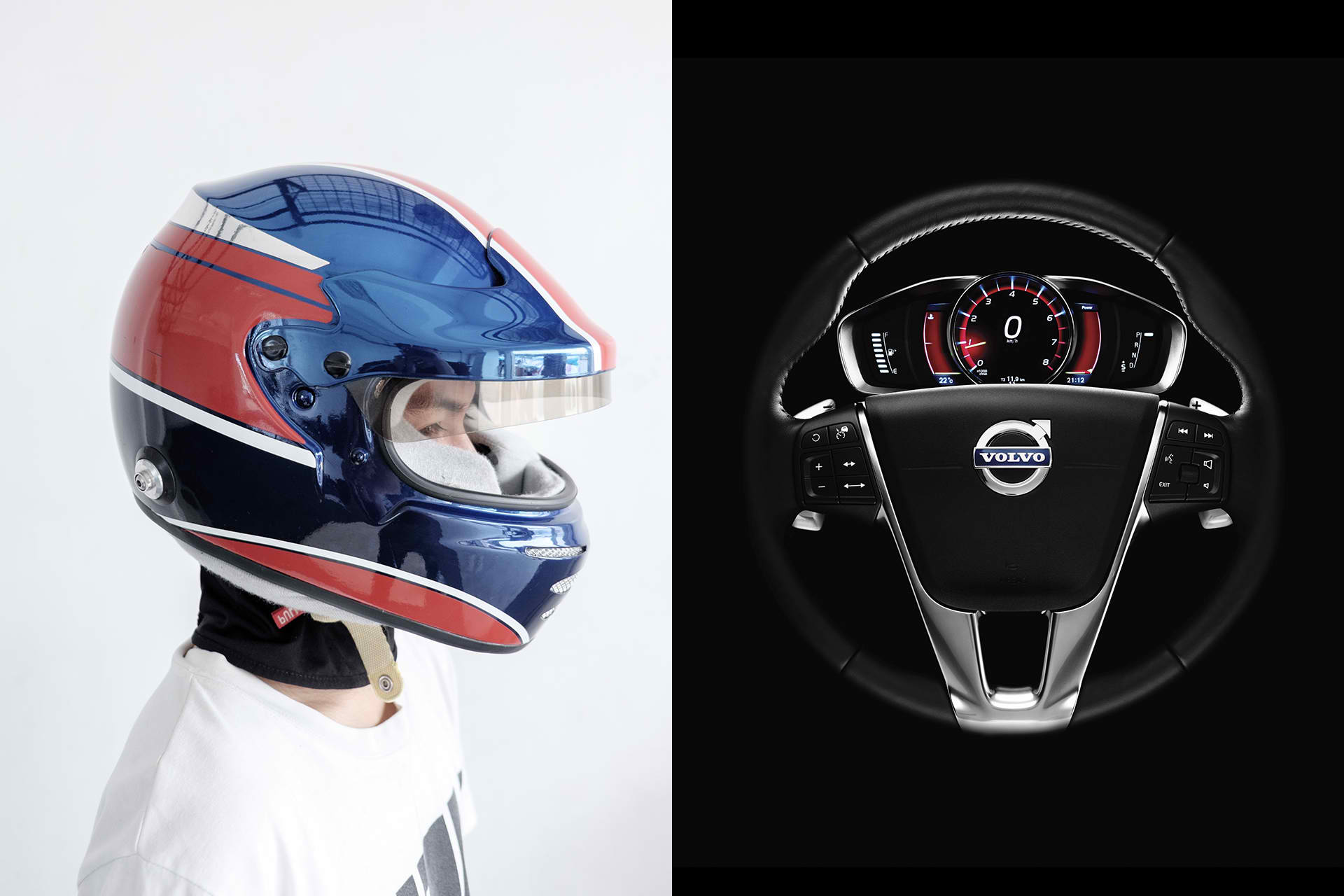 A racing driver wears a blue and red helmet; details of the Volvo XC60 steering wheel