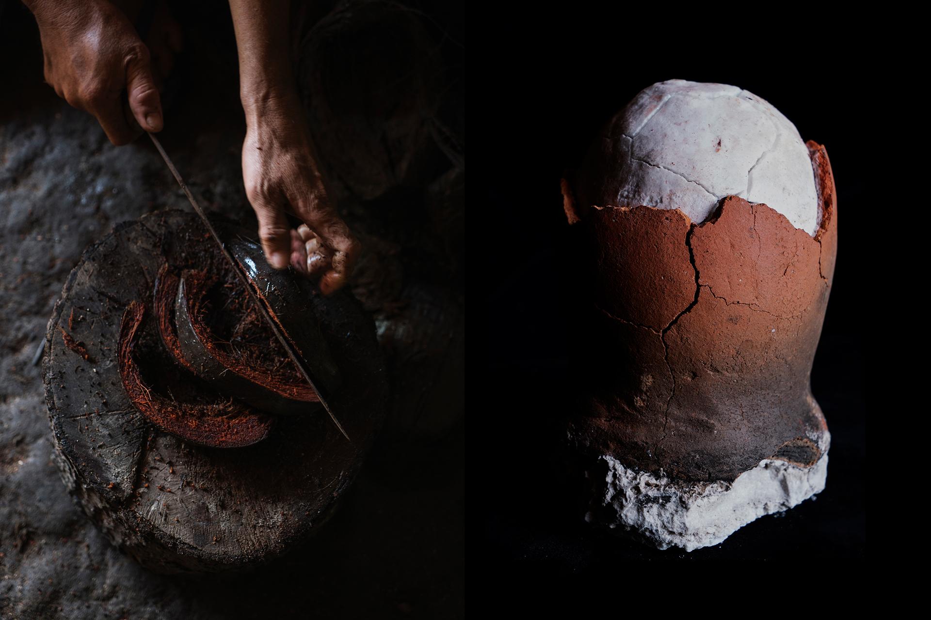 A saltmaker slicing soaked coconut husks; a salt egg from Albur, Bohol