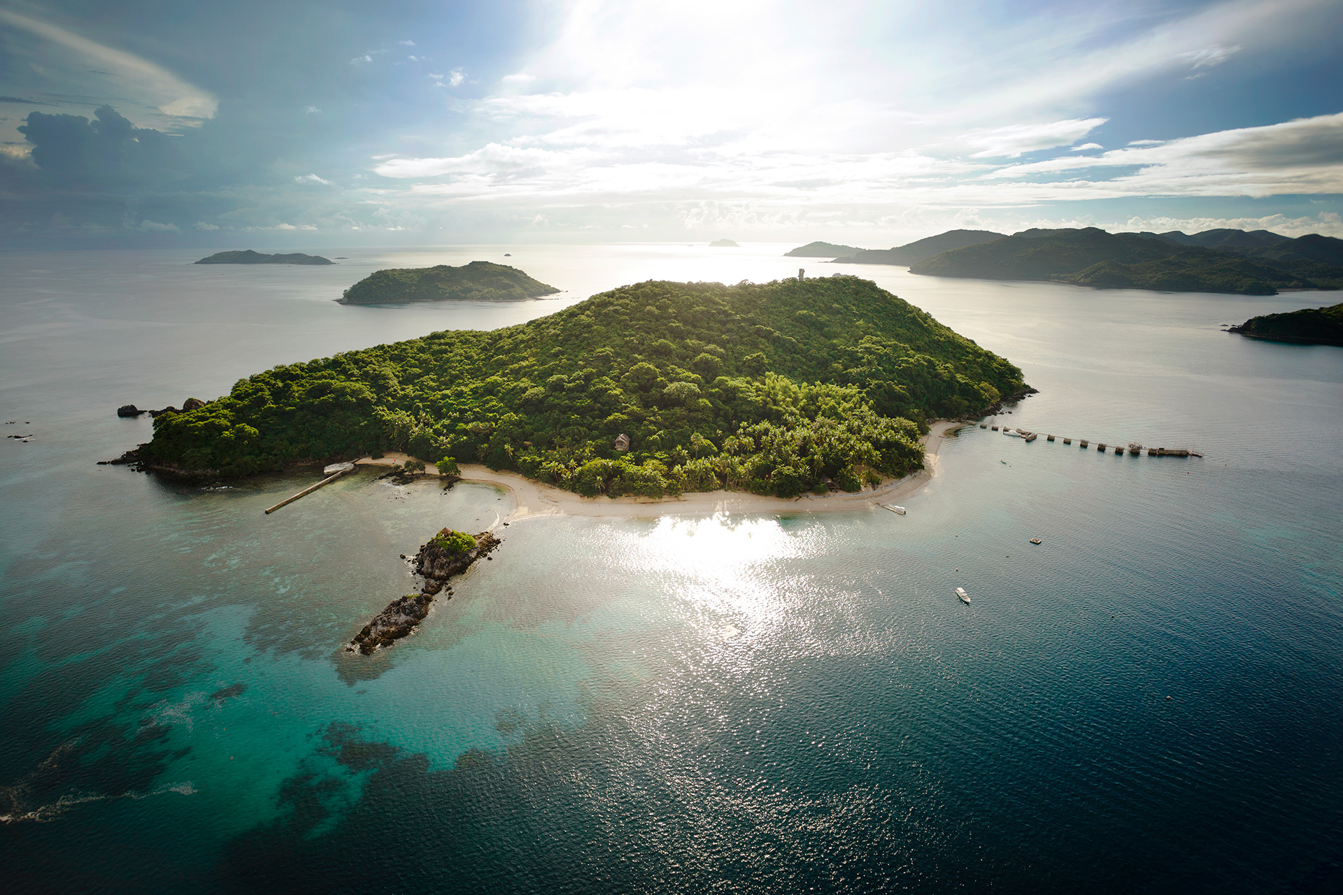 Aerial view of Flower Island in Taytay, Palawan