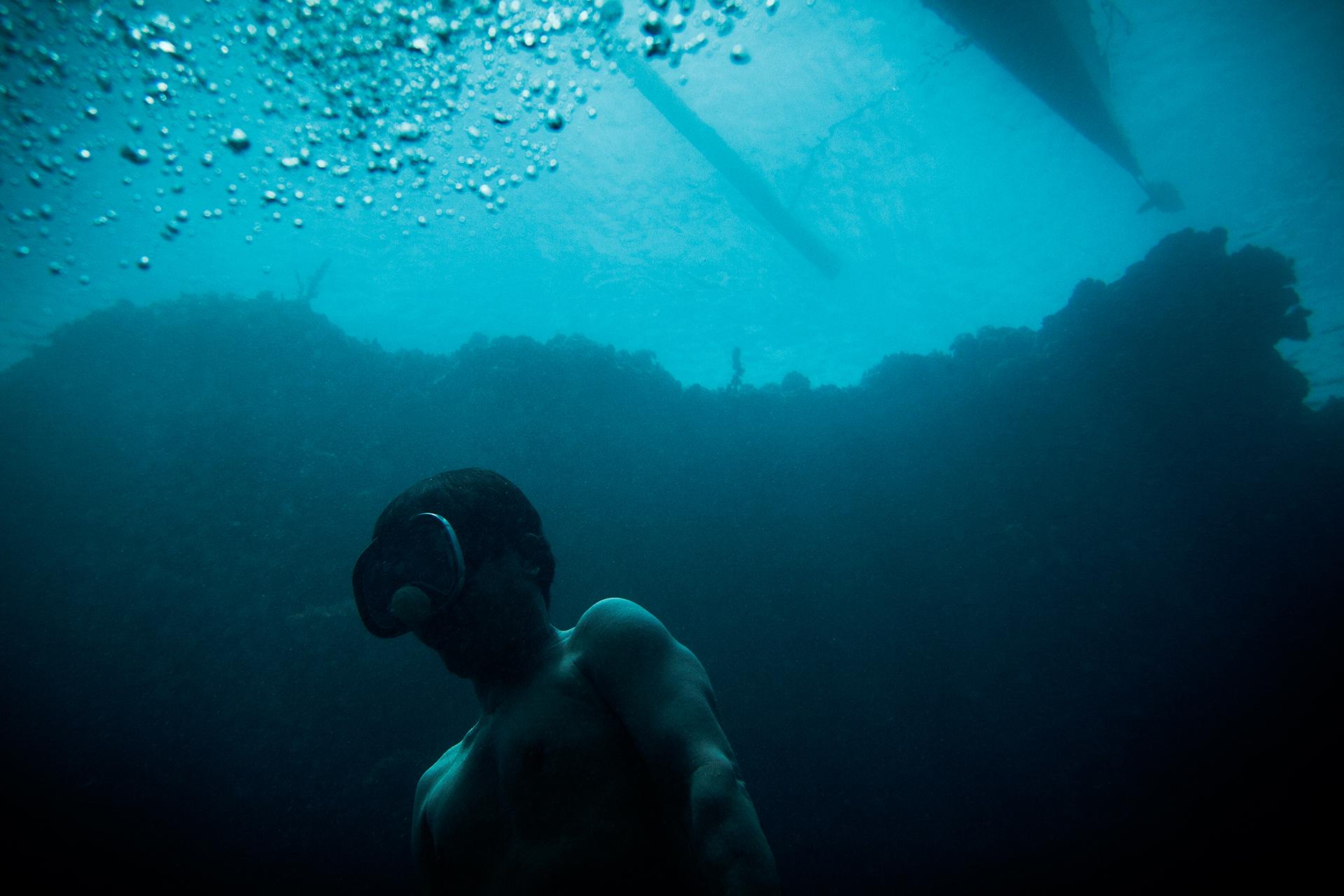 A freediver underwater in Sasa, Davao City