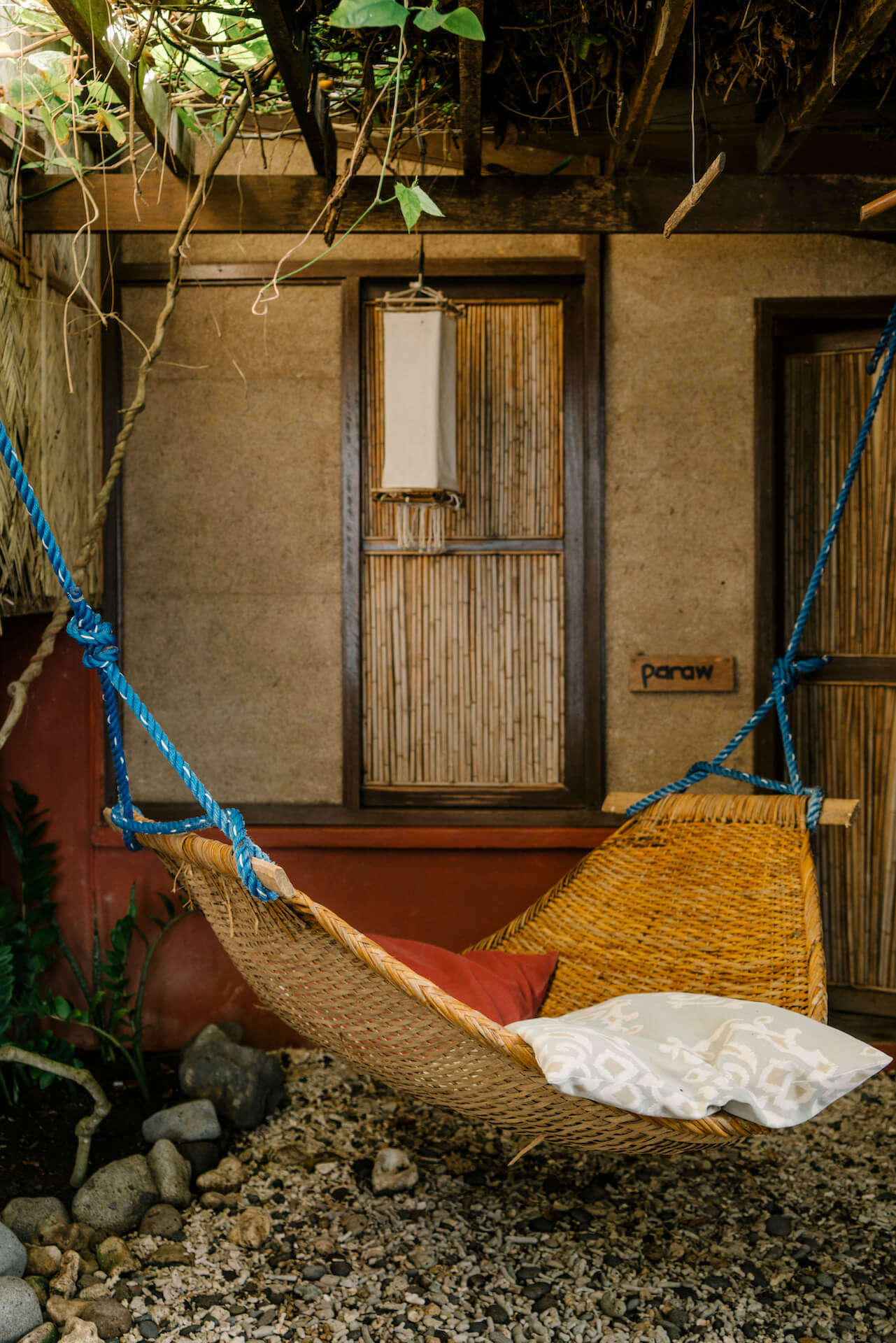 A hammock for guests at Lilom Resort in Batangas