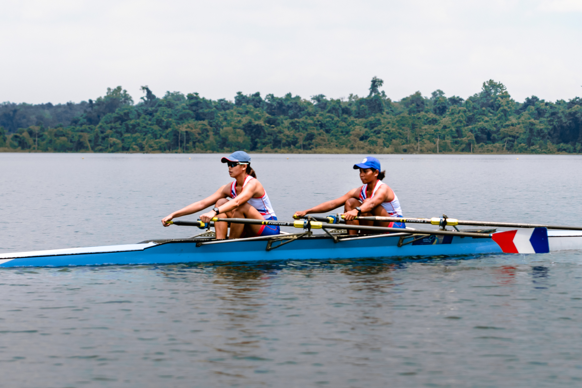 A pair of female athletes row in La Mesa Watershed