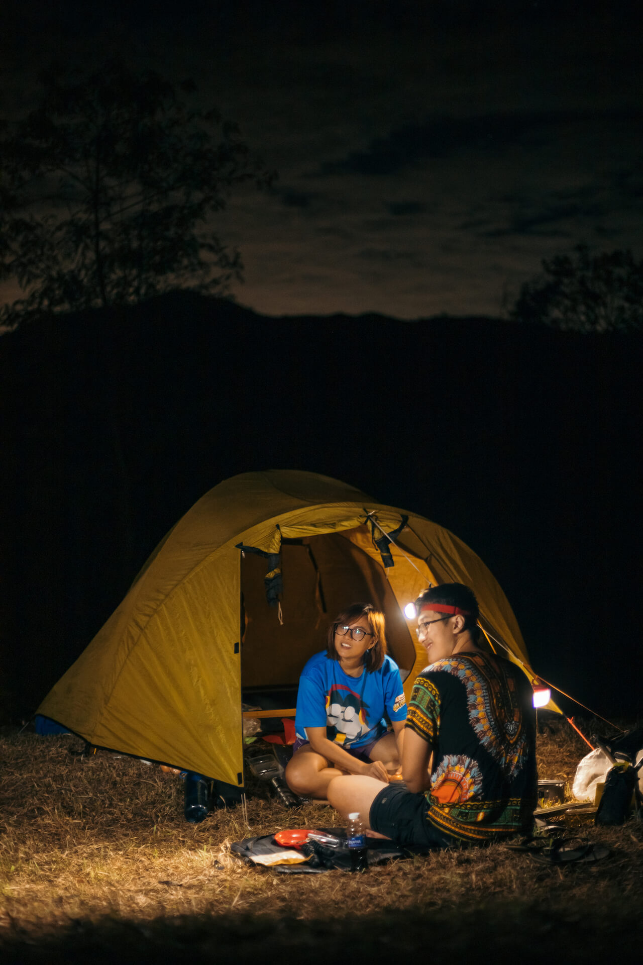 Philippine Astronomical Society members camping outside stargazing