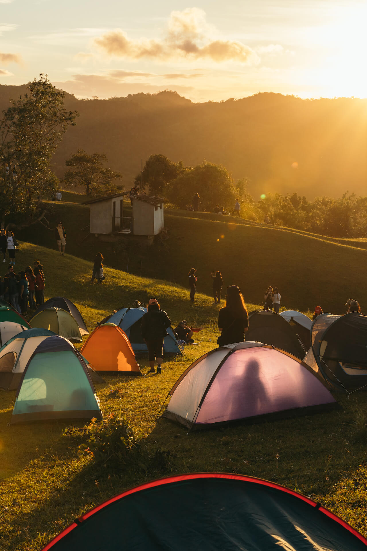 Tents sprawled out around the camping grounds