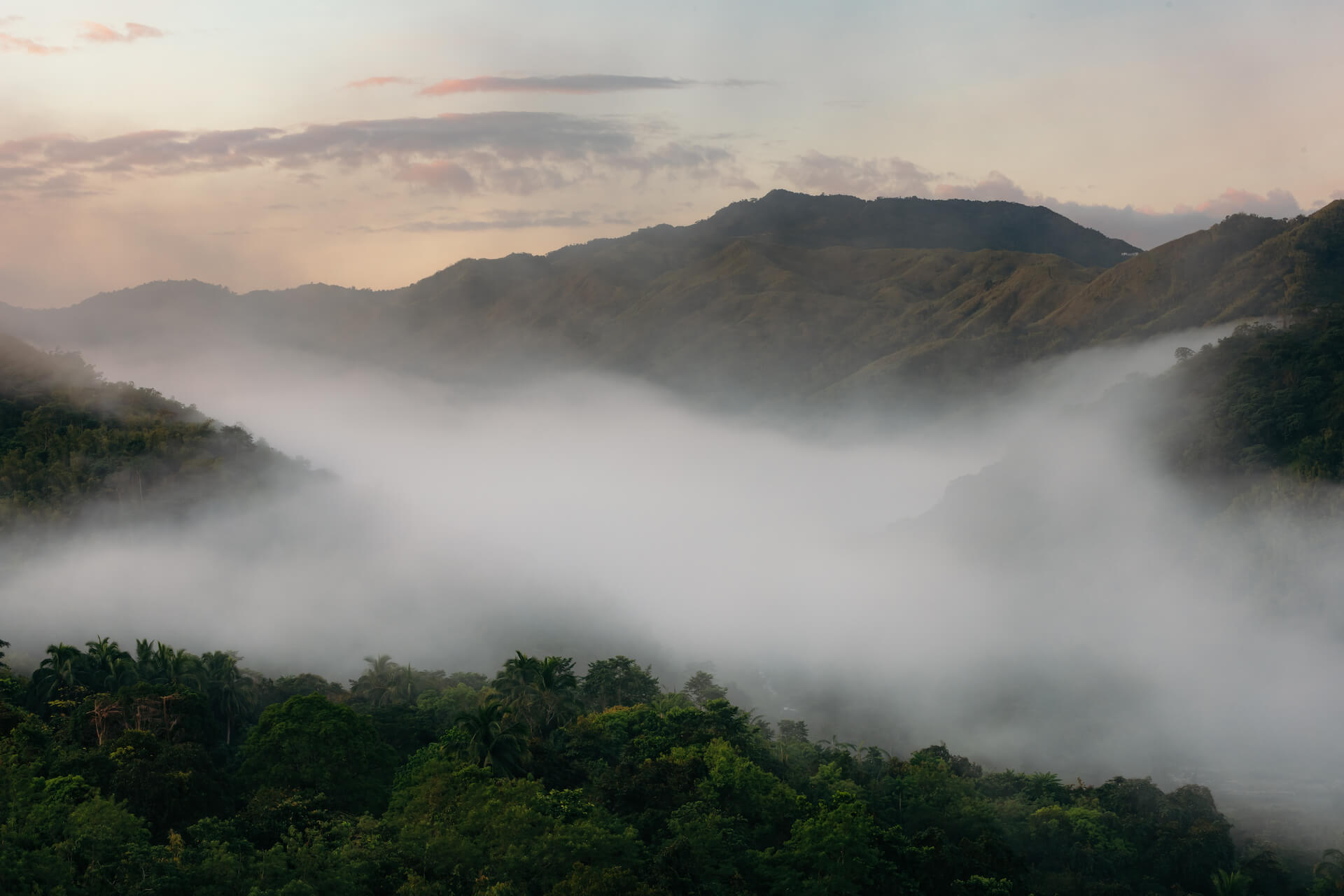 View of the Sierra Madre at dawn