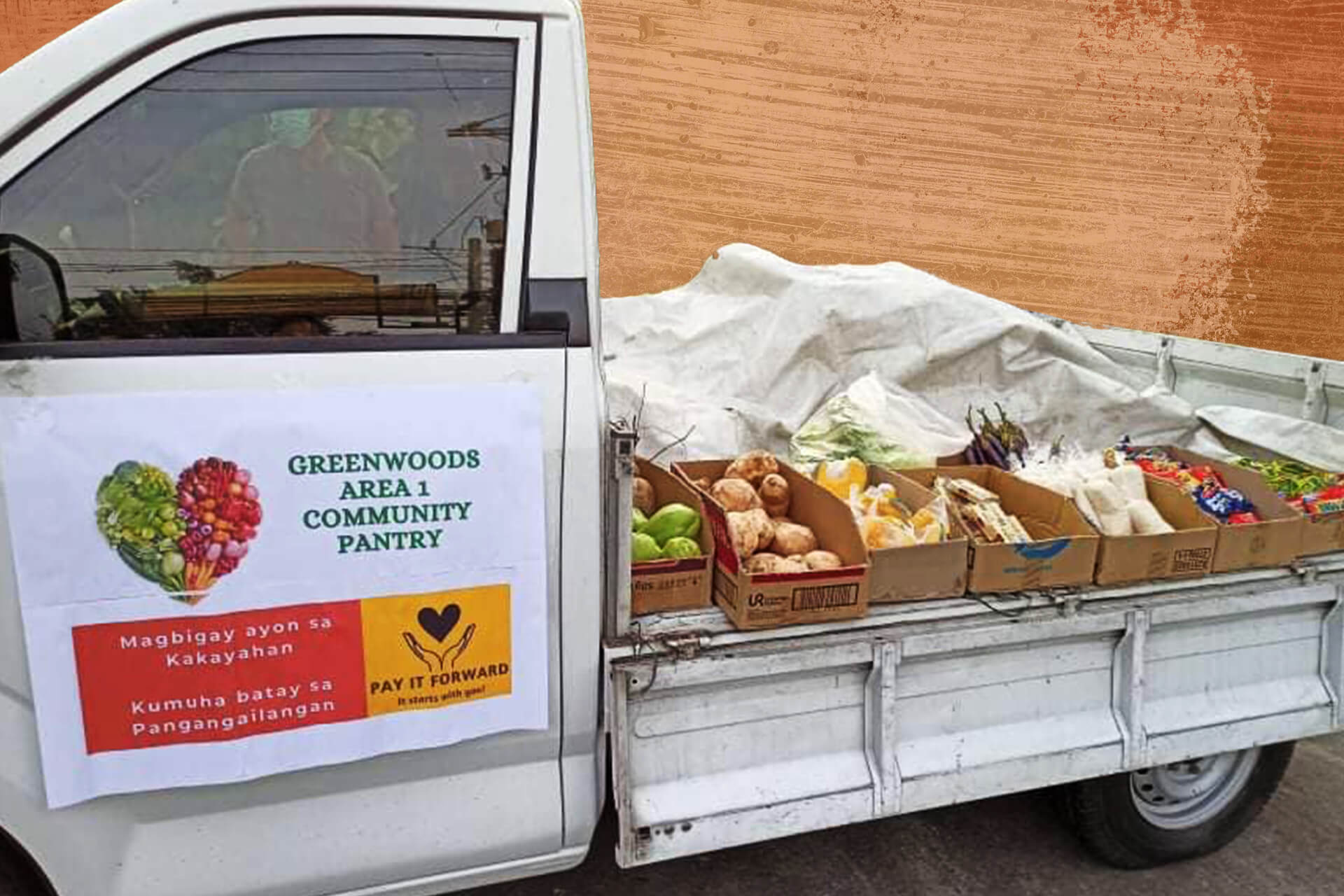 The Greenwoods Area 1 Community Pantry operates from a small truck for easier mobility.