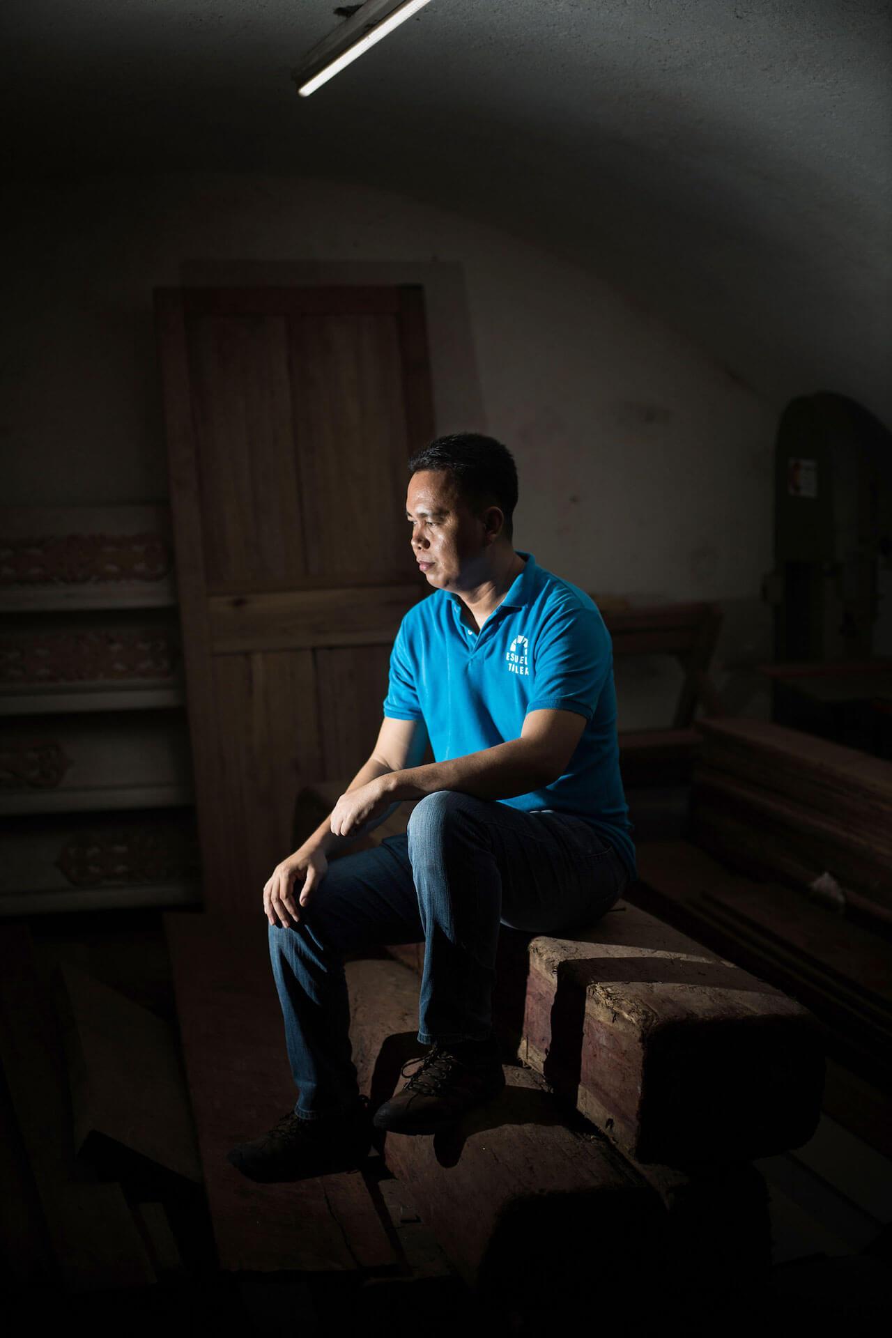Carpentry instructor Elvin Alexon Ferrer