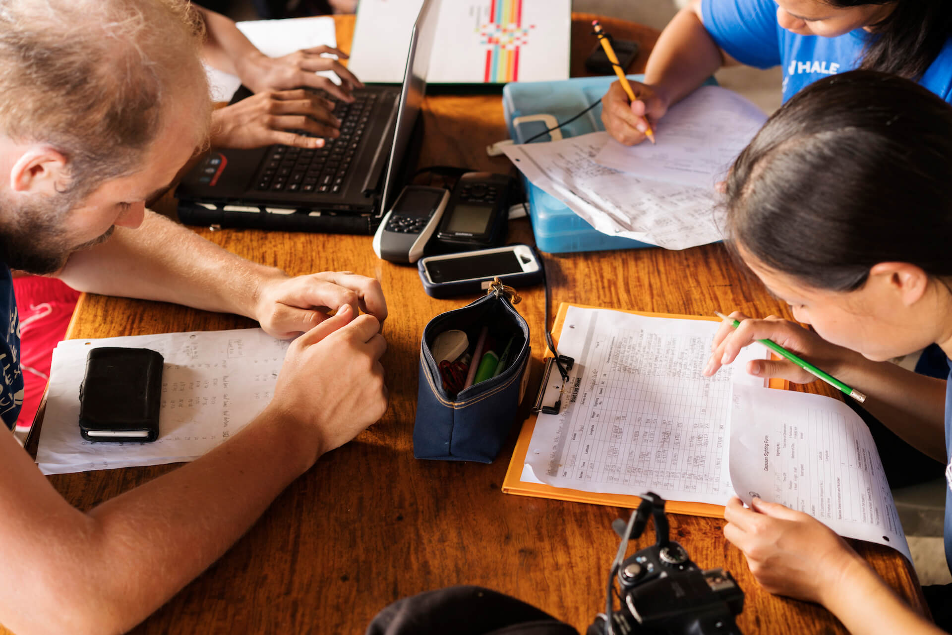 Balyena volunteers encode their day's research data