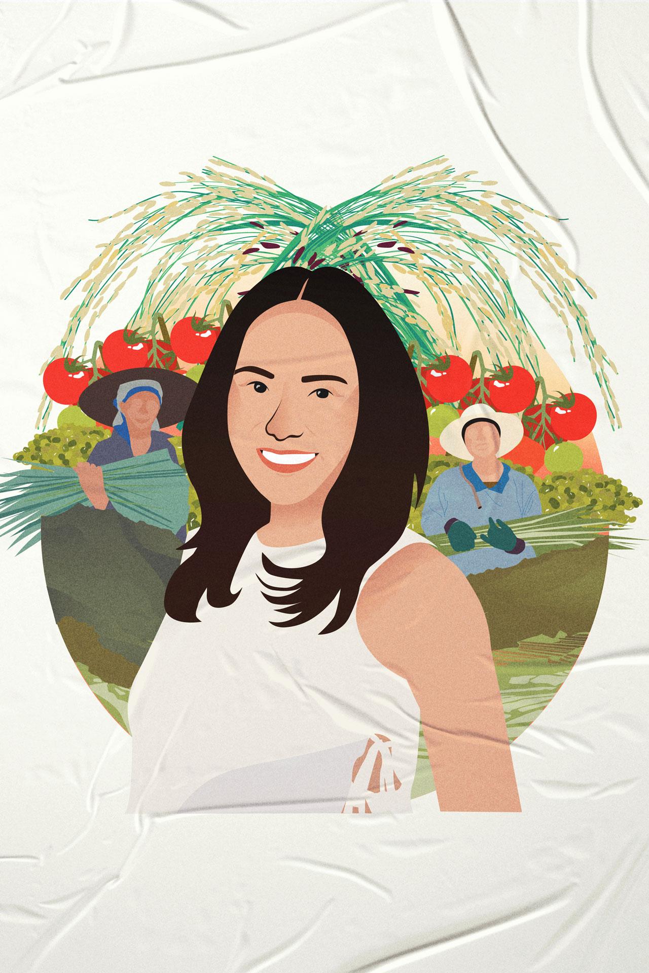 Cherrie Atilano President and Founding Farmer, AGREA, illustration by Isabela Ferrer