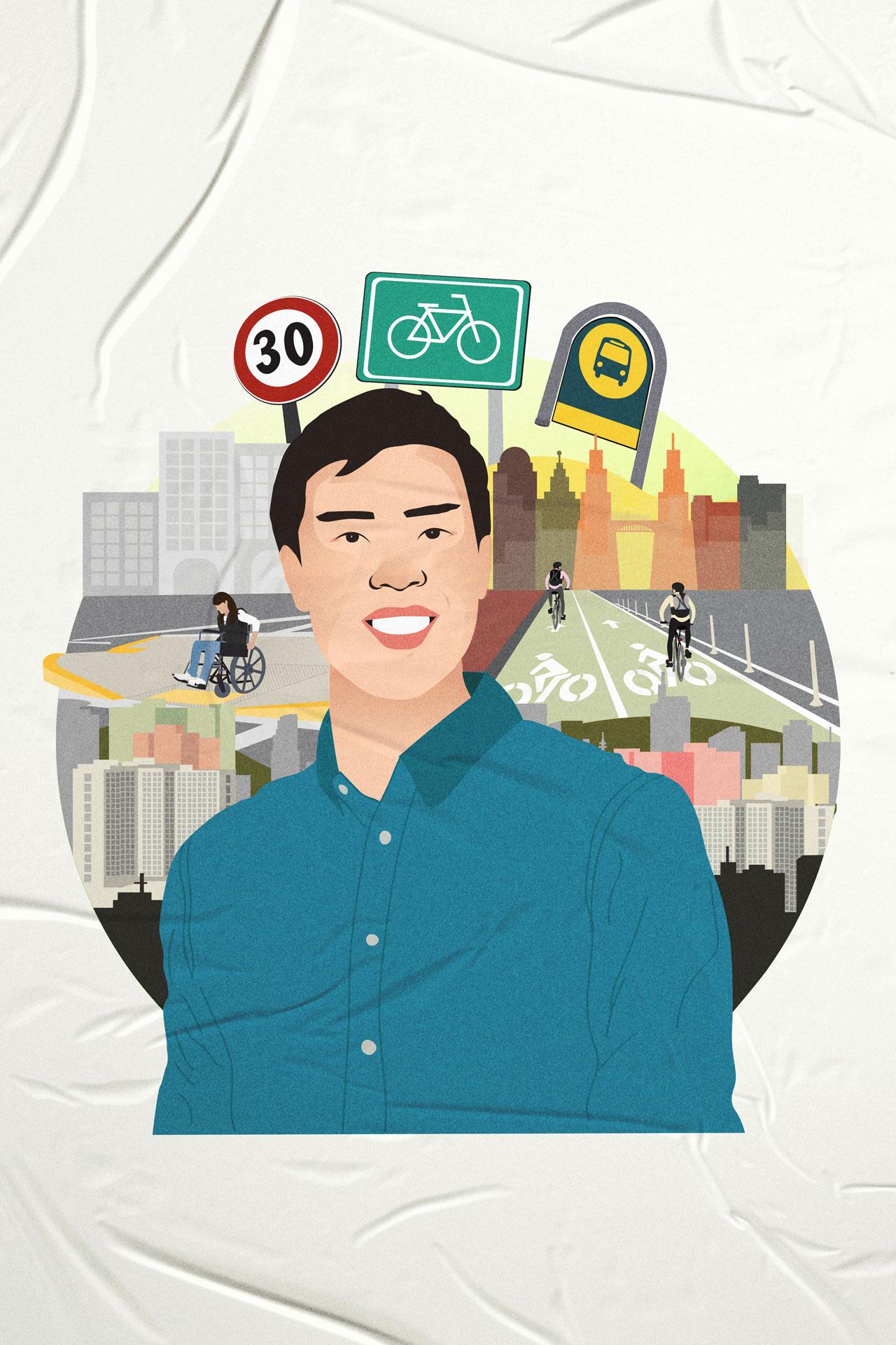 Anton Siy Chief Transport Planner, Pasig City, illustration by Isabela Ferrer