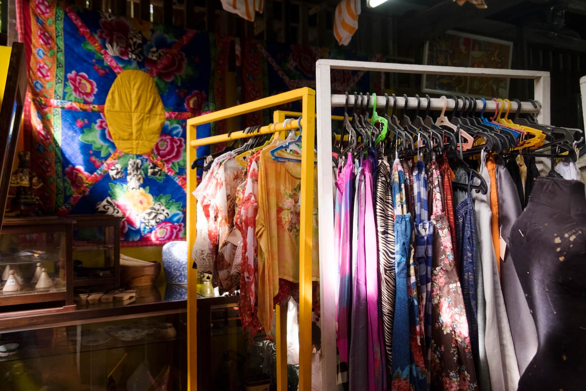 Rack of clothes in Patis Tesoro's B&B
