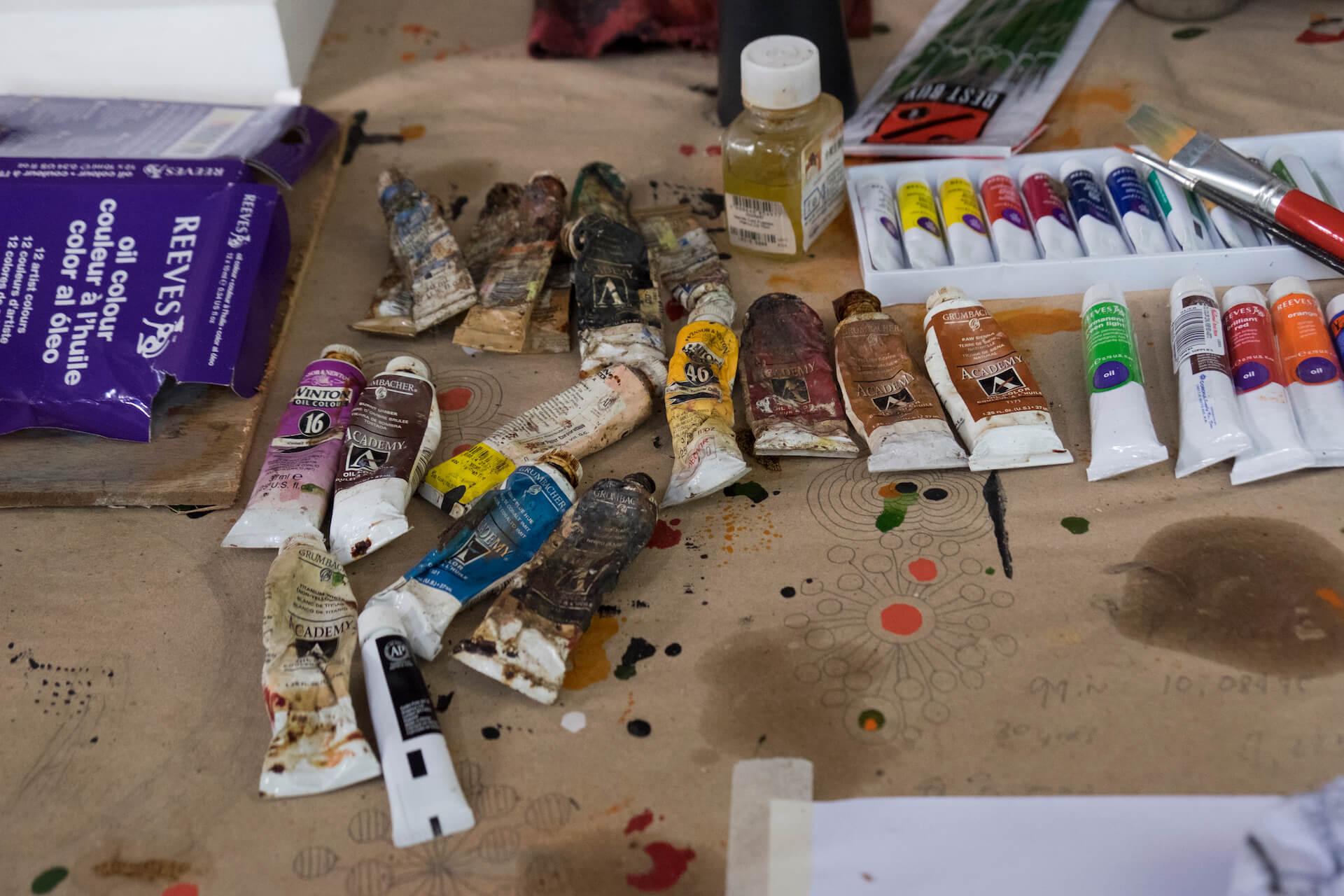 Tubes of oil paints