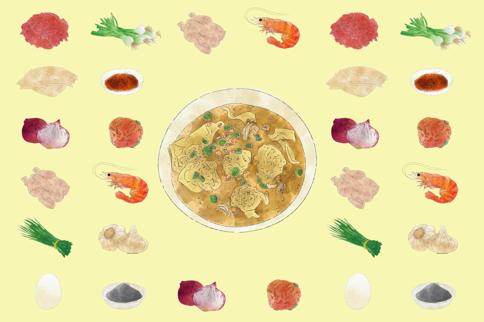 Molo soup ingredients, illustration by Isabel Ferrer