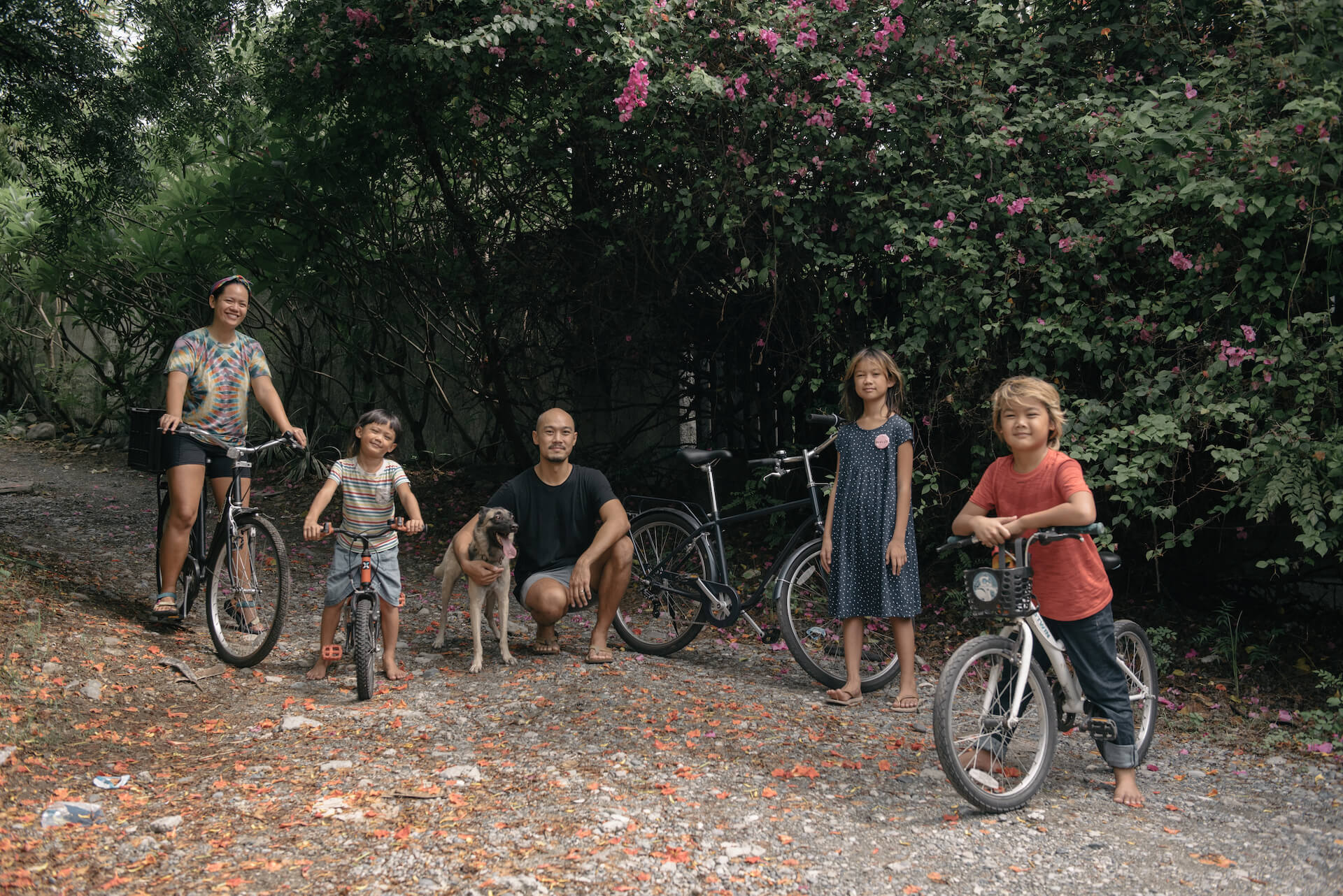 Cosio Family poses with bikes in La Union, photo by Tarish Zamora