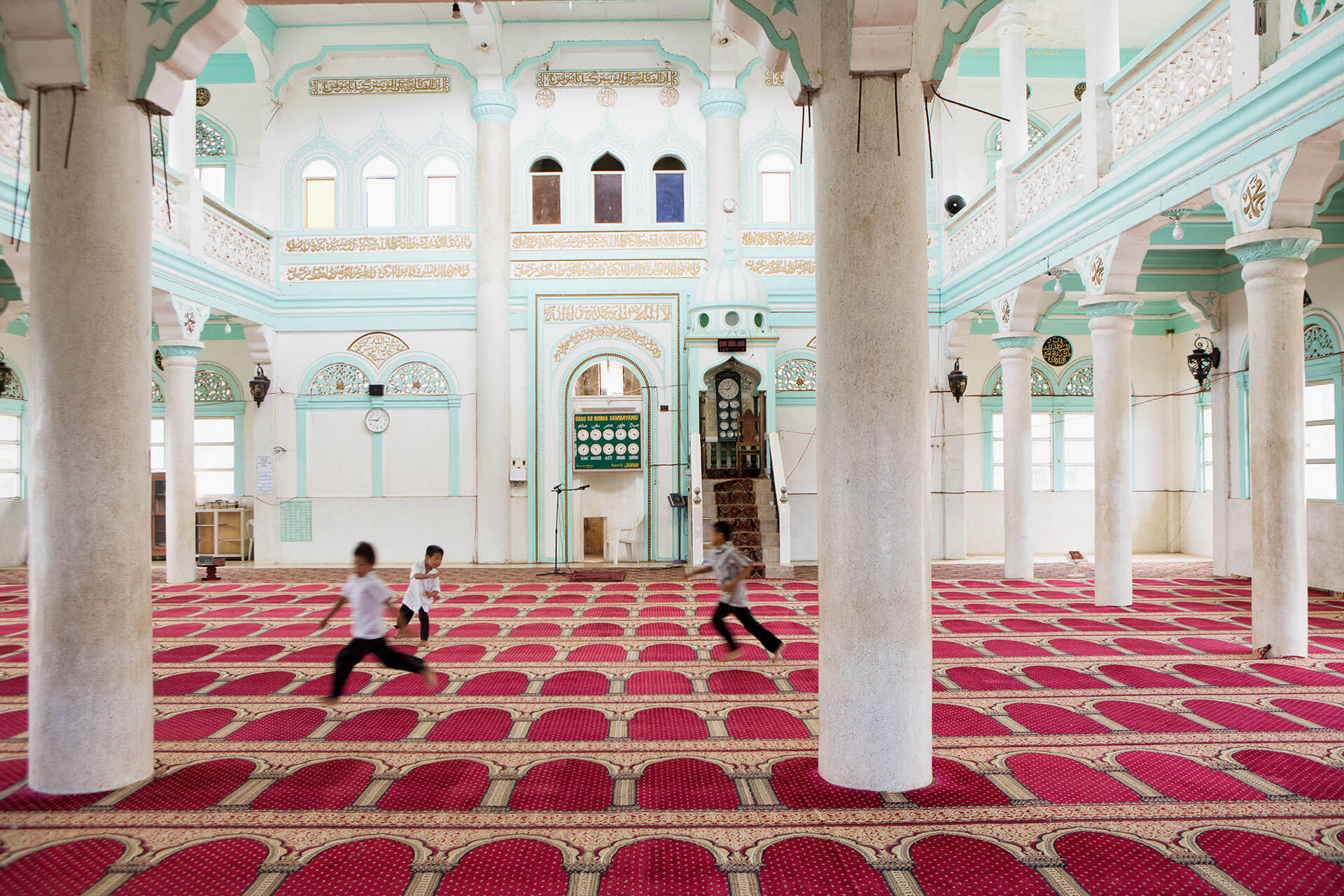 Children play in an empty mosque in Lanao del Sur, photo by Miguel Nacianceno