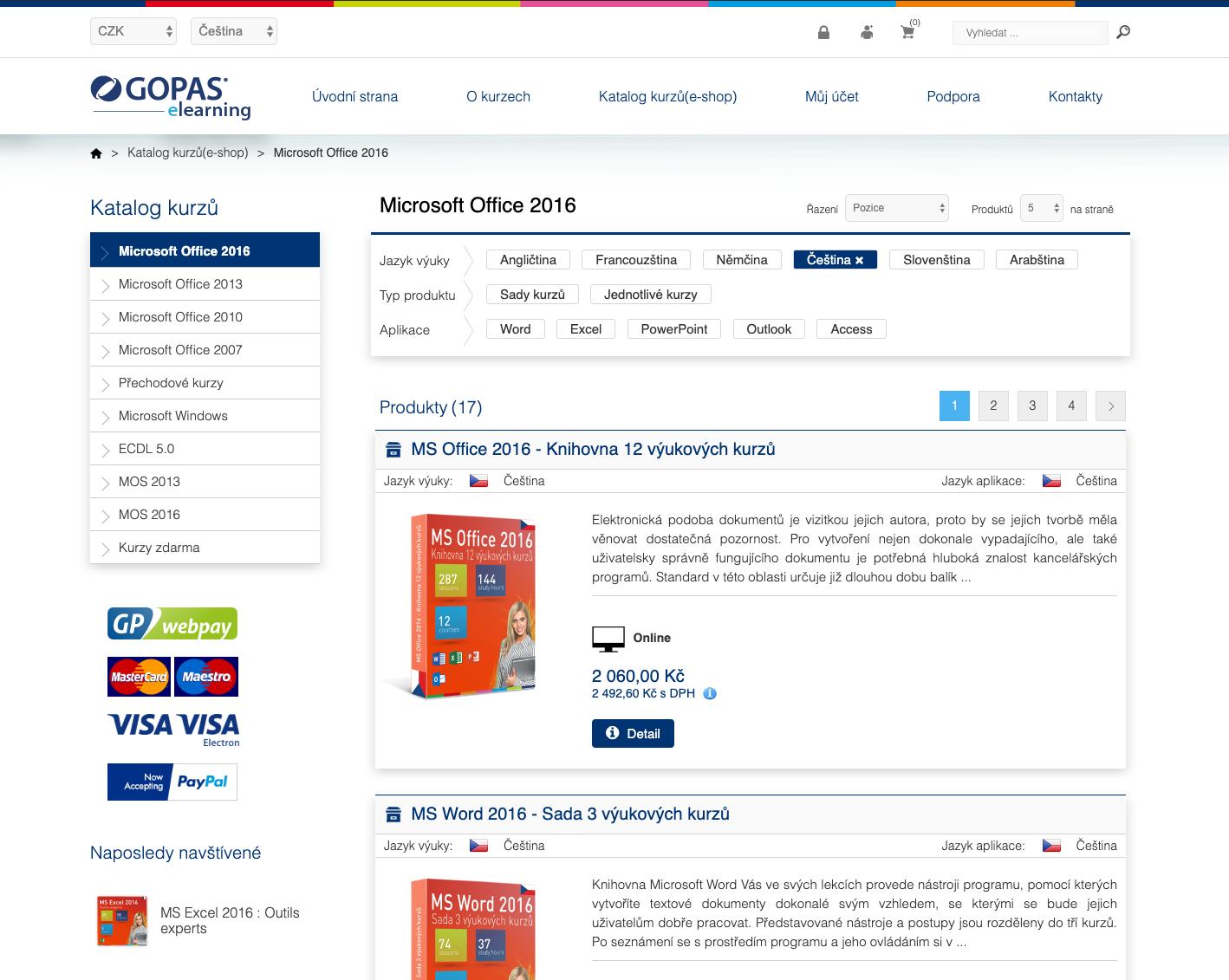 Elearning e-shop (CMS Nopcommerce)