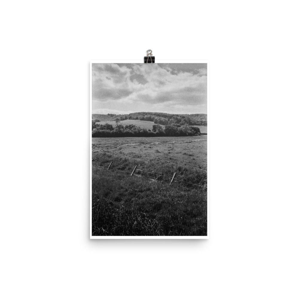 Black and white print of the Sussex countryside
