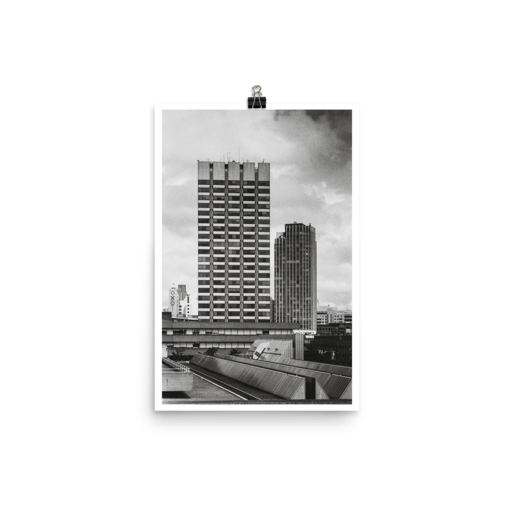 Black and white print of London's southbank