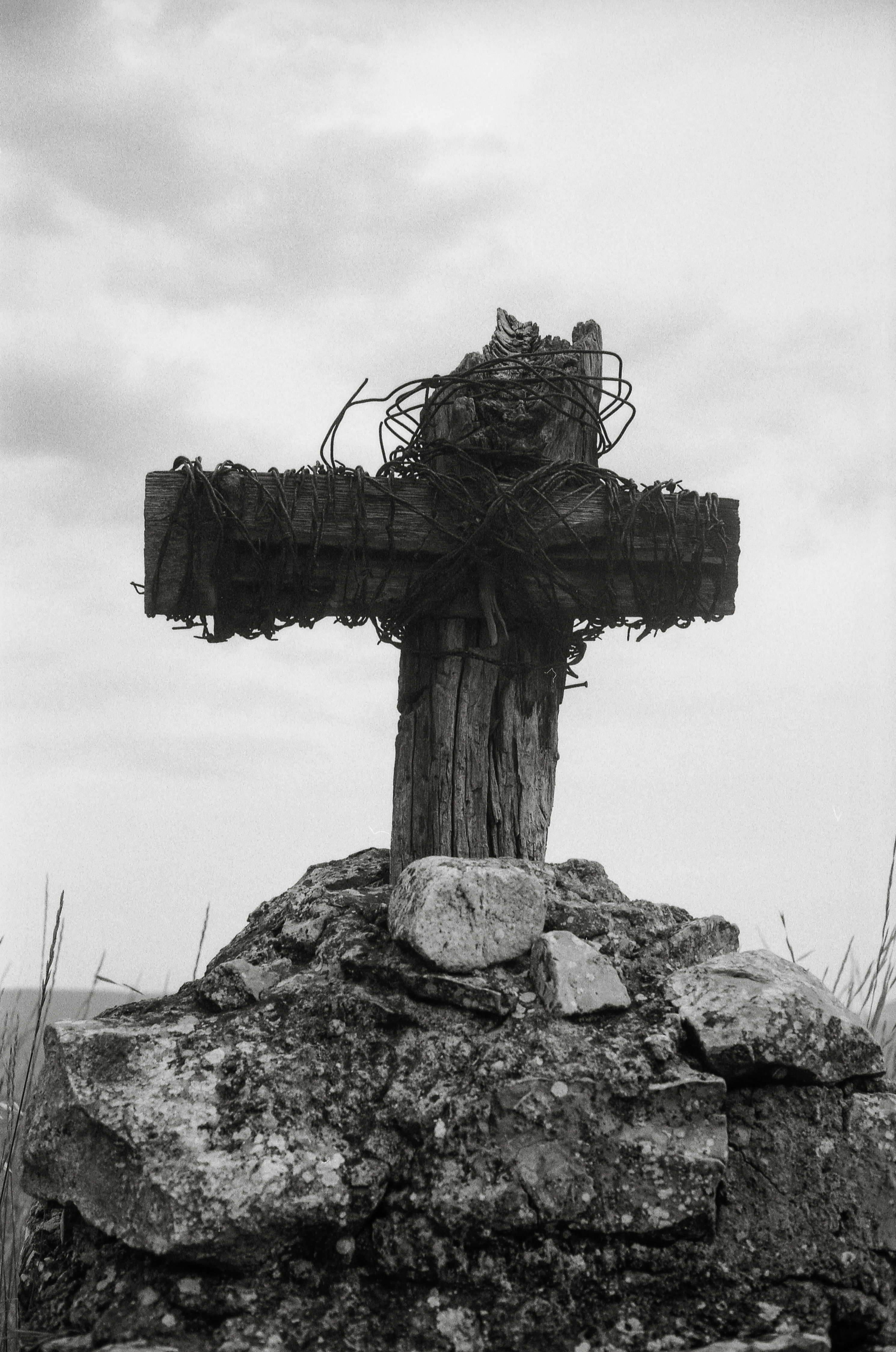 Black and white print of a wayside cross in France