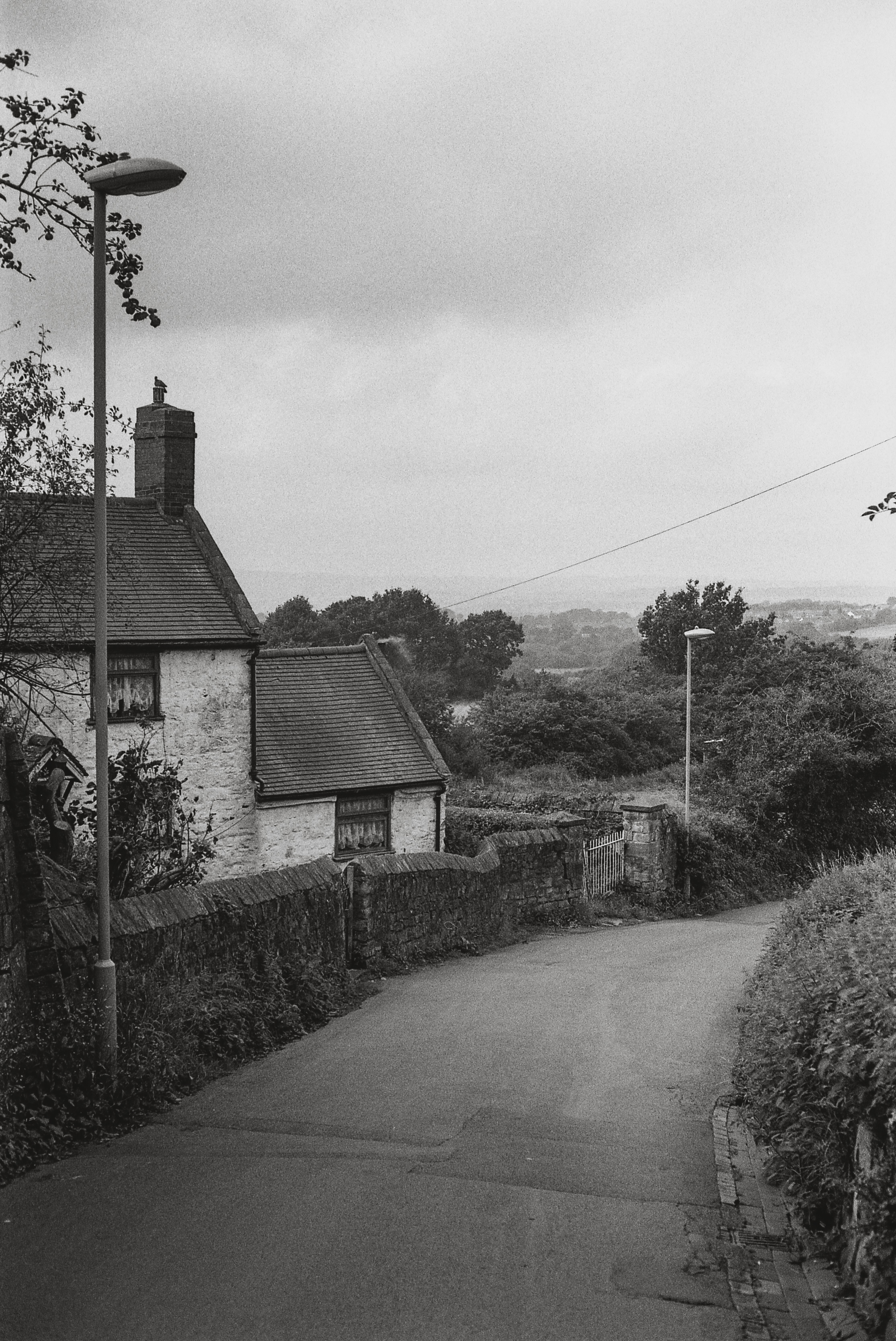 Black and white print of a village road