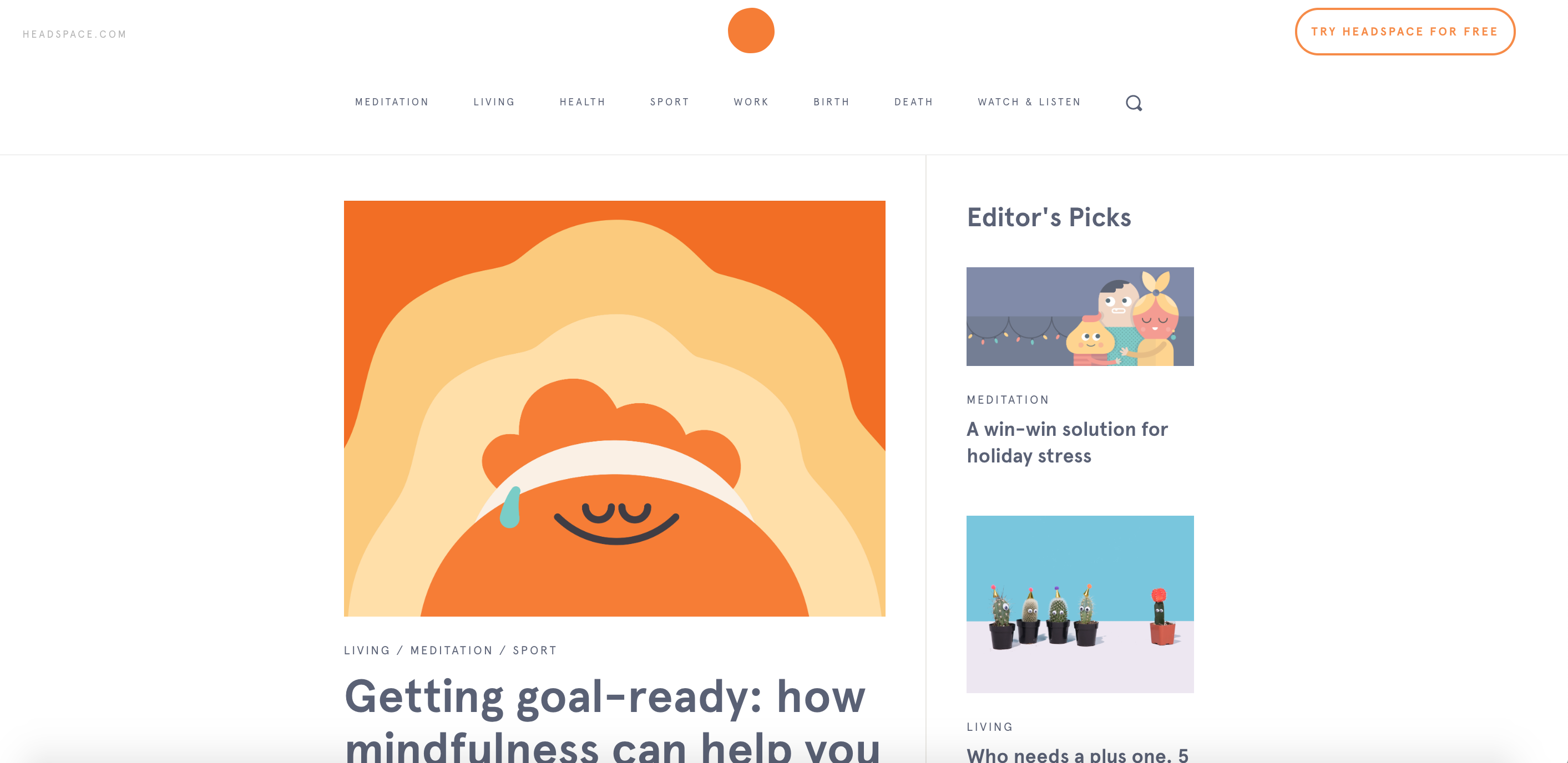 Content Marketing de Headspace