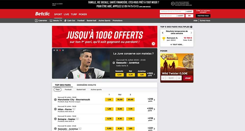 Site de paris sportifs Betclic, page d'accueil - Follow Win Betting