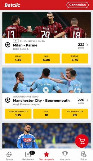 Application de paris sportifs Betclic, écran d'accueil - Follow Win Betting