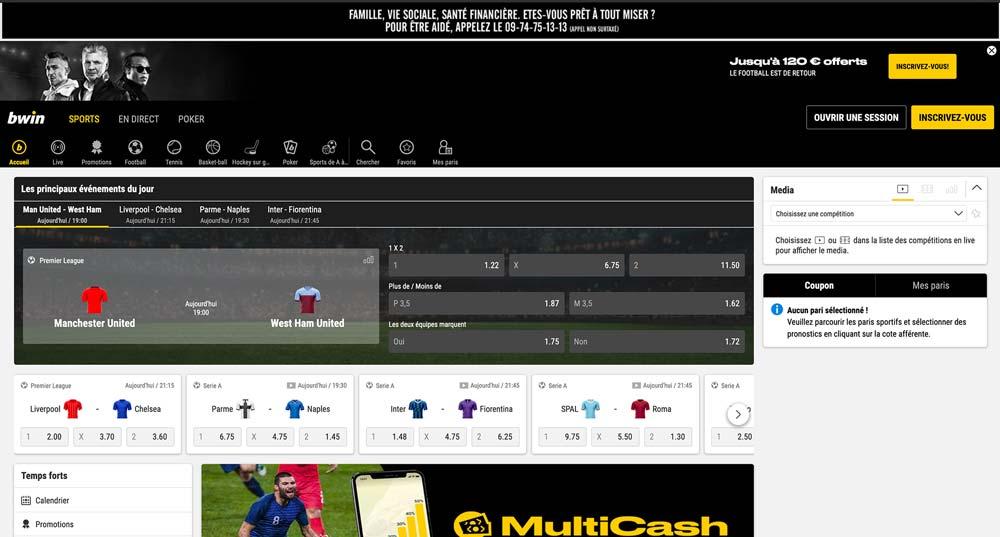 Site de paris sportifs Bwin, écran d'accueil - Follow Win Betting