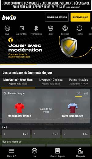 Application de paris sportifs Bwin, écran d'accueil - Follow Win Betting