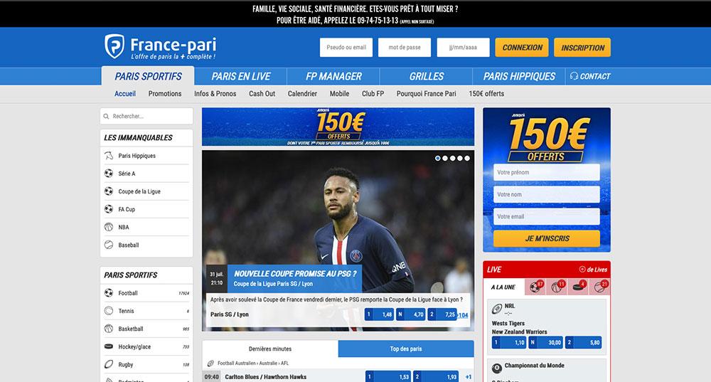 Site de paris sportifs France Pari, écran d'accueil - Follow Win Betting