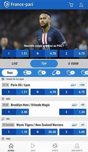 Application de paris sportifs France Pari, écran d'accueil - Follow Win Betting