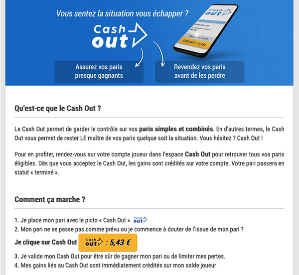 Illustration Cashout France Pari - Follow Win Betting