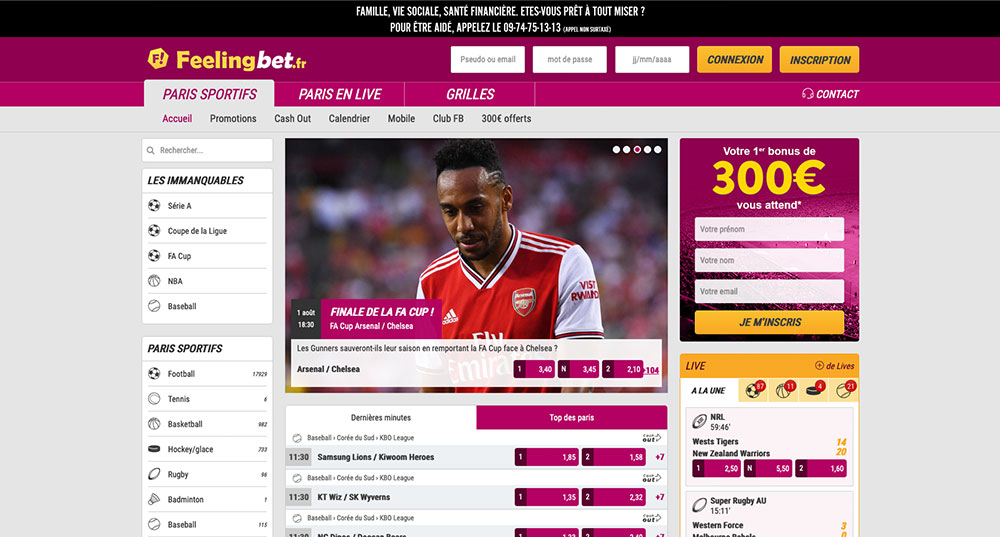 Site de paris sportifs Feelingbet, écran d'accueil - Follow Win Betting
