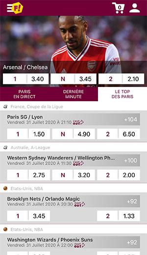 Application de paris sportifs Feelingbet, écran d'accueil - Follow Win Betting