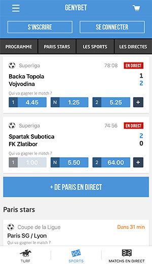 Application de paris sportifs Genybet, écran d'accueil - Follow Win Betting