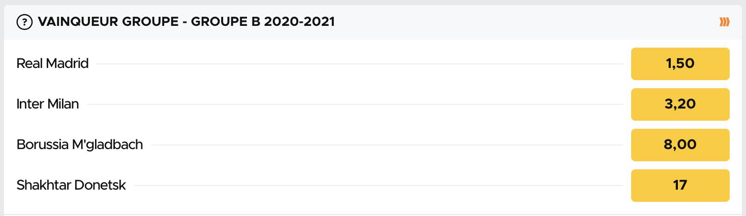 Cotes pour le vainqueur du groupe B de la Ligue des Champions 2020-2021